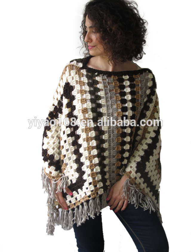stylish high fashion granny square crochet poncho plus size over size knitted poncho for fashion women #grannysquareponcho
