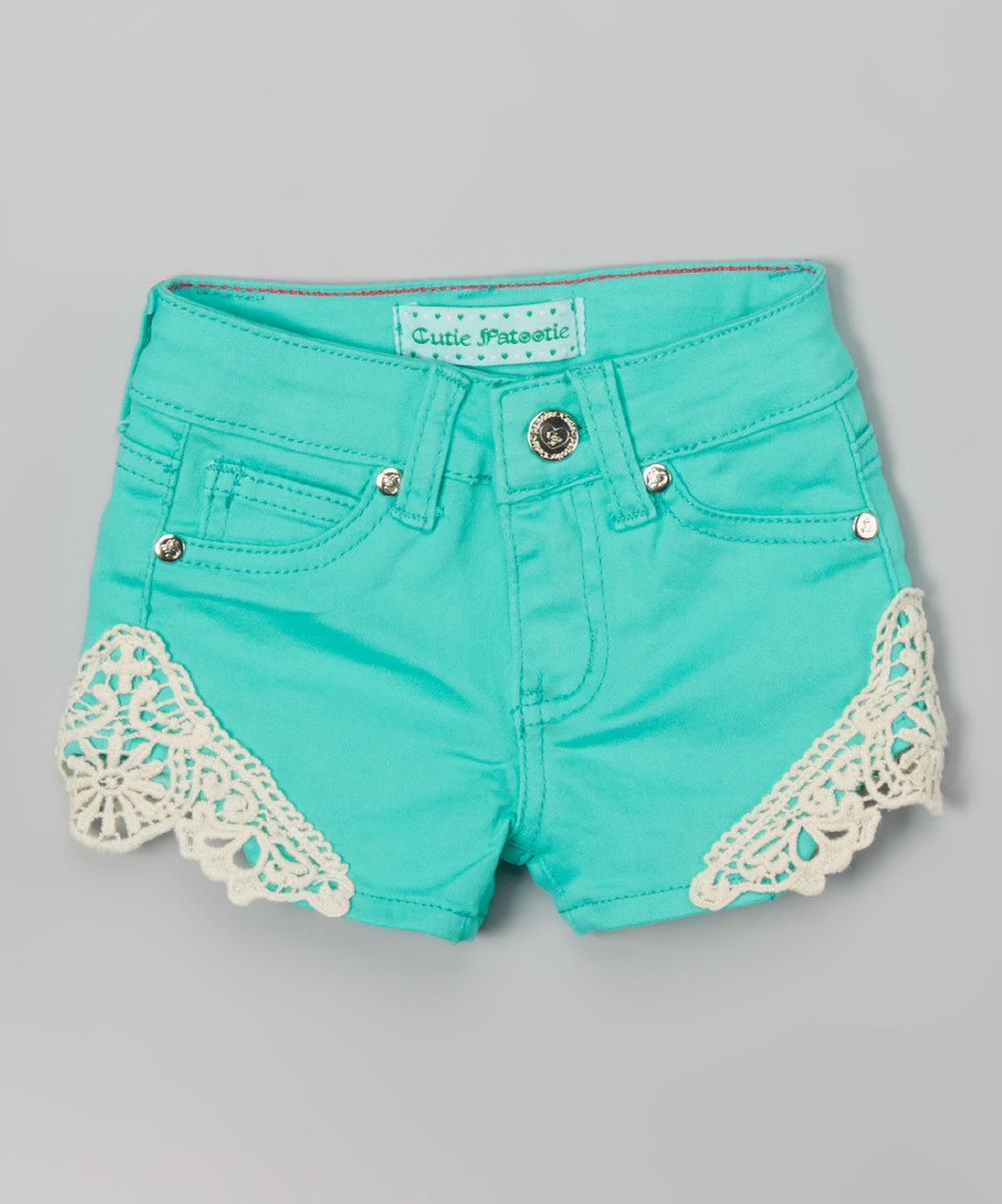 This Cutie Patootie Mint Crochet Twill Shorts by Cutie Patootie is perfect! #zulilyfinds