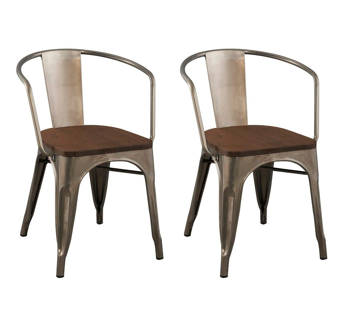 Carlisle Dining Chair With Wood Seat Distressed Metal