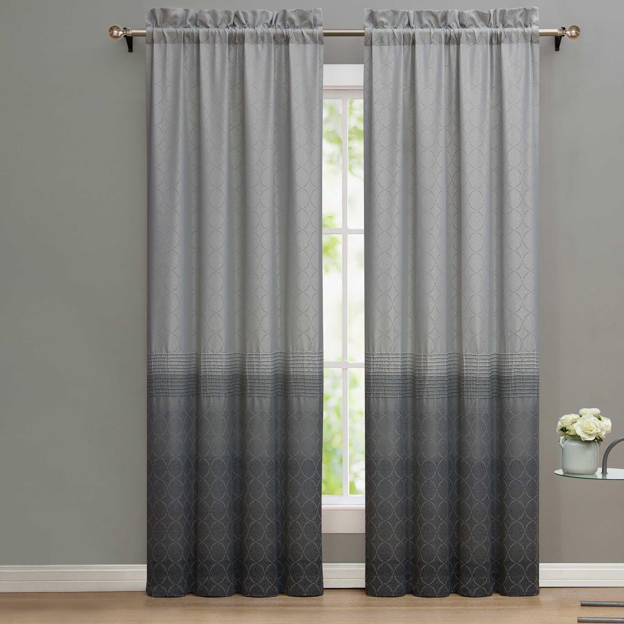 Nikki Chu Lyon Ombre 84 Inch Window Curtain Panel Pair In Silver