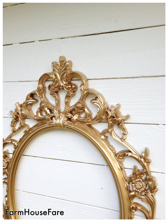 gold ornate oval frame wedding photo prop gold home decor girls