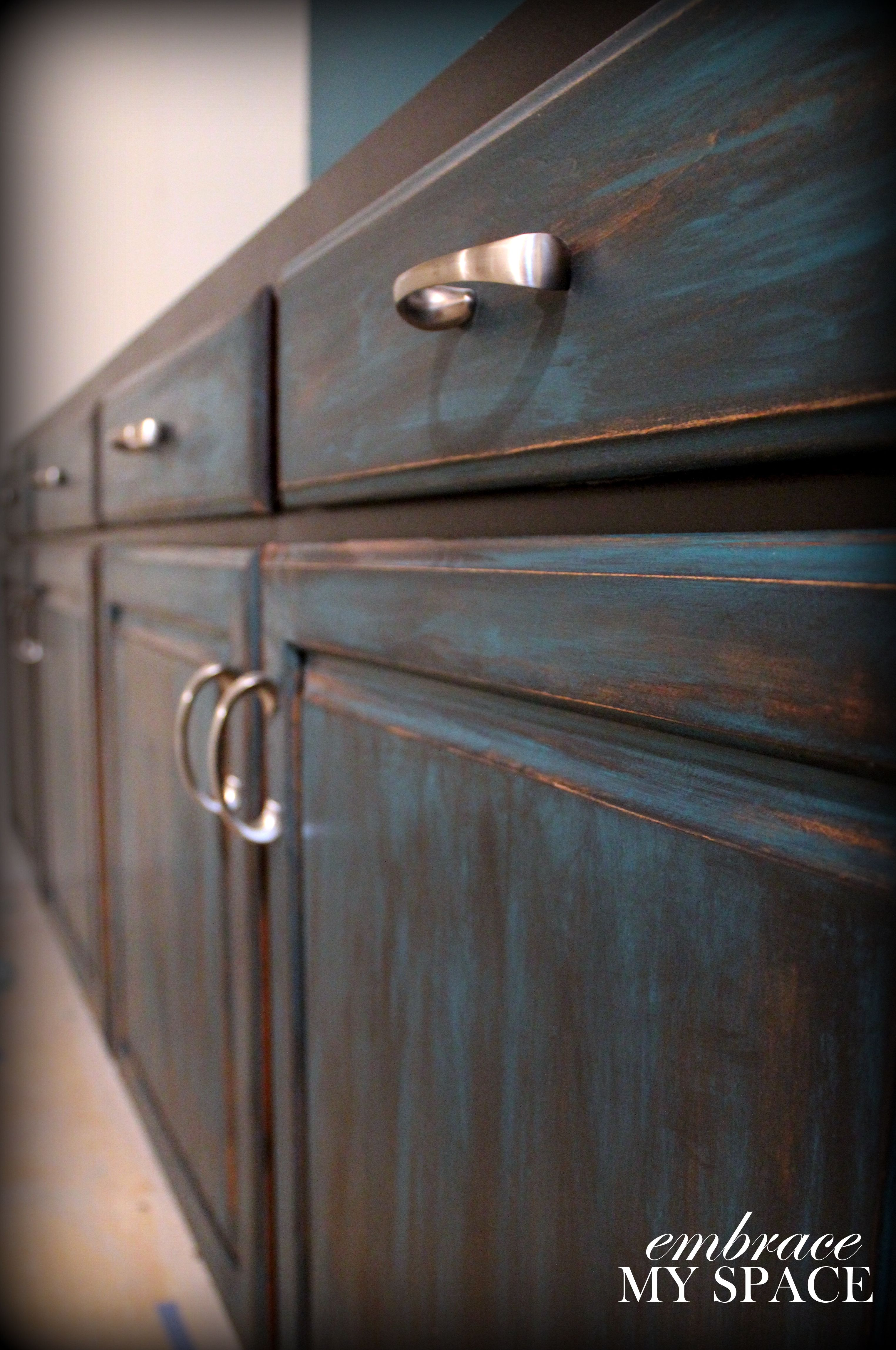 distressed wood kitchen cabinets antique islands for sale furniture distressing diy not crazy about the blue but