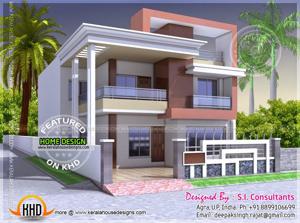 North Indian Style Flat Roof House With Floor Plan House Front Design Kerala House Design Indian Home Design