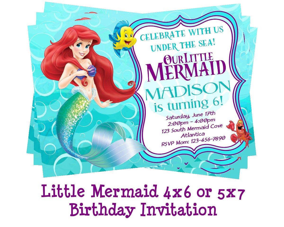 Disney Little Mermaid Invitation - Mermaid Party - Ariel Birthday ...