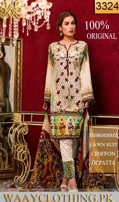 Wyhr 3324 Front Embroidery Designer 3pc Lawn Suit With Chiffon