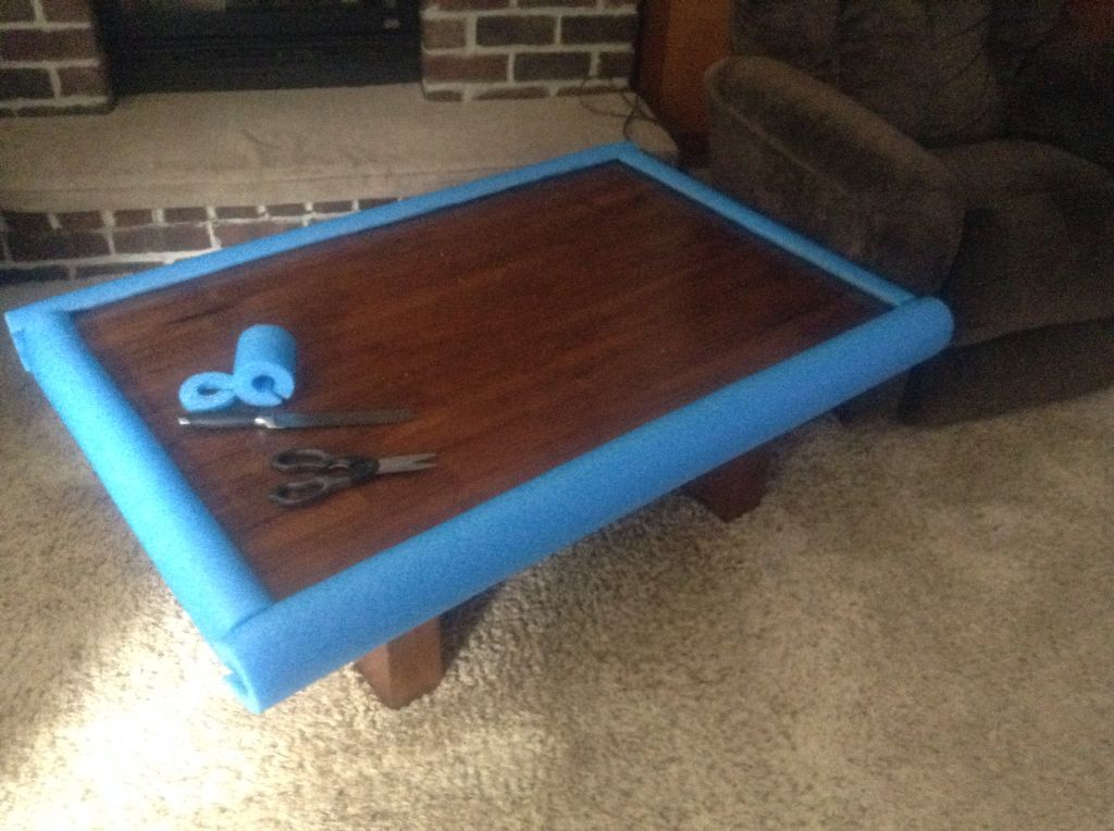Safe Guard Used Pool Noodles Around Coffee Table So Grand Baby
