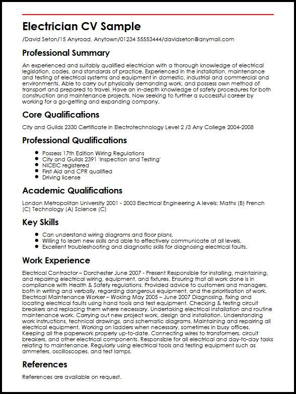 Resume Examples Electrician Resume examples, Sample resume and - Resume Sample For Electrician