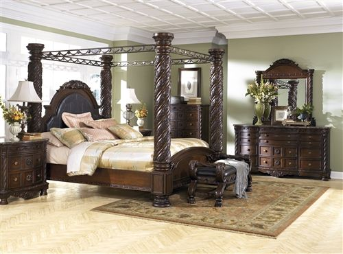 North Shore Brown Canopy Bedroom Set By Signature Design By Ashley King Bed