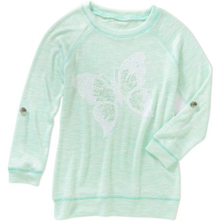 Miss Chievous Girls' Rolled Tab Sleeve Sequin Butterfly Top, Size: Small, Green
