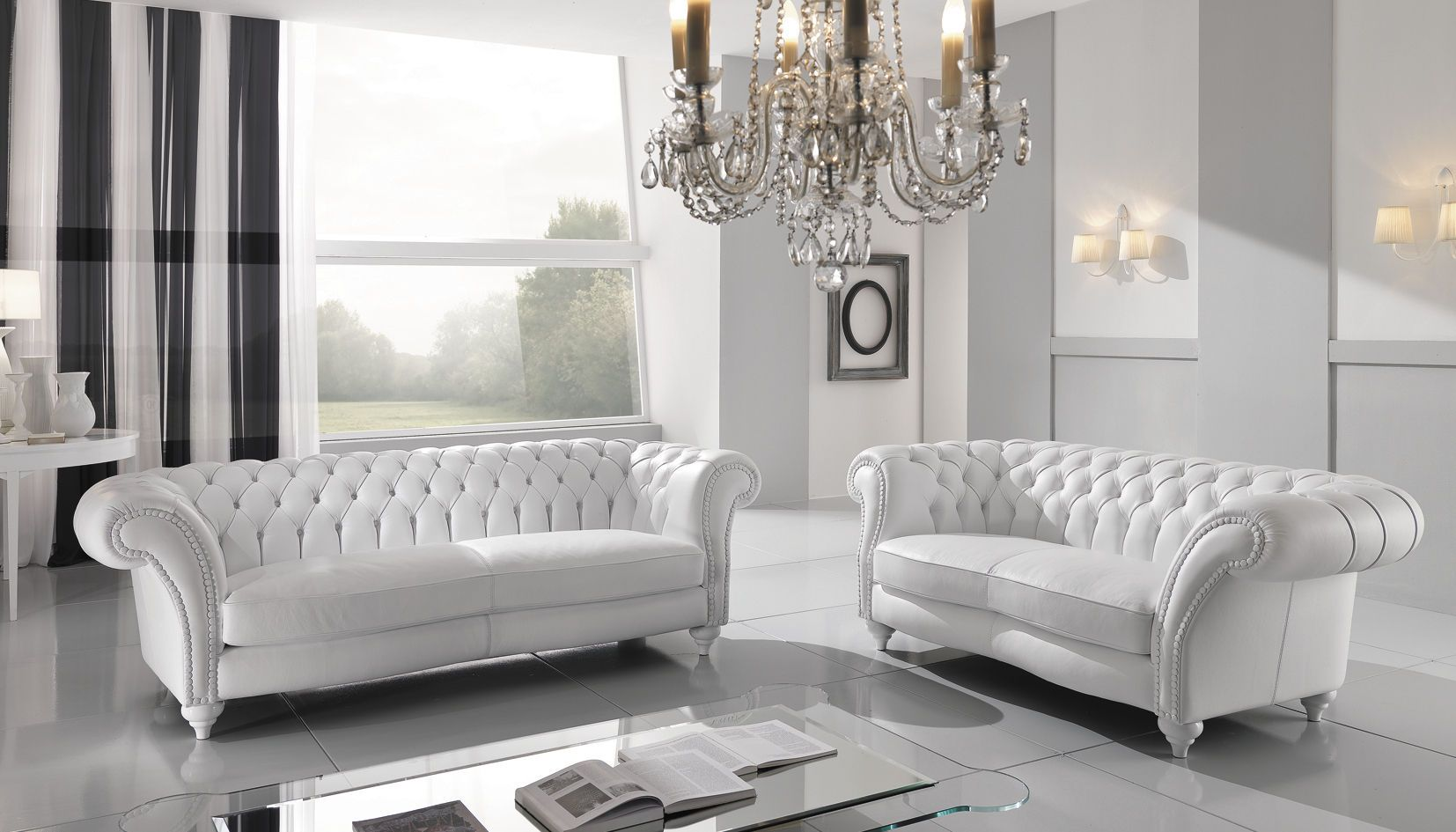 White Tufted Leather Sofa Set White Leather Sofas White Leather