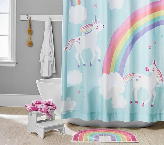 Rainbow Unicorn Bath Set Towels Shower Curtain Bath Mat Kids