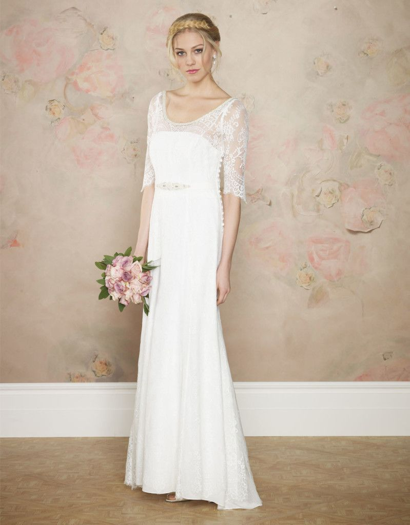 Simple lace sleeve wedding dress for older brides over 40 for Older brides wedding dresses