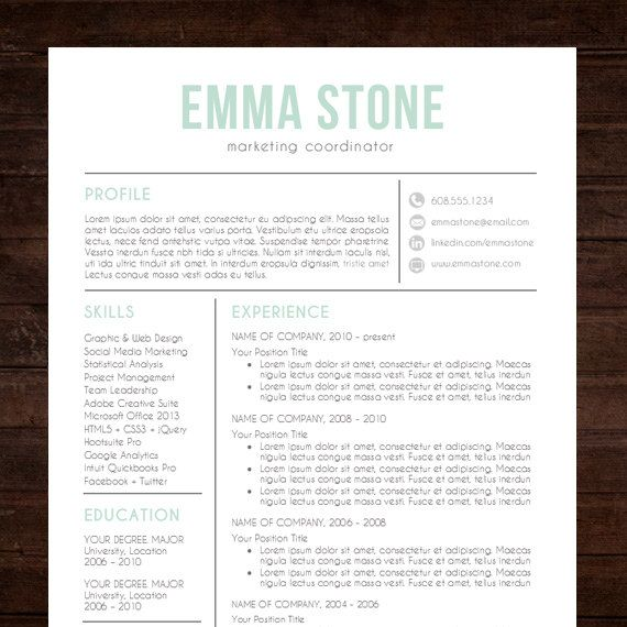 creative resume template  modern design  mac or pc  word  free cover letter  instant download  mint