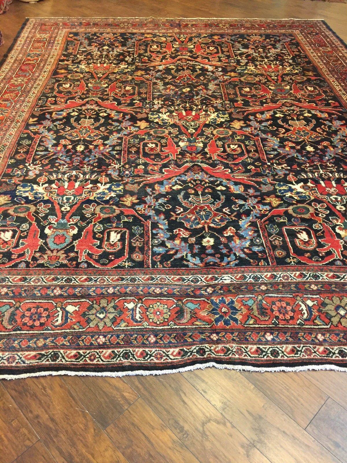 11x14 Handmade Antique Persian Mahal Wool Oriental Rug Ebay