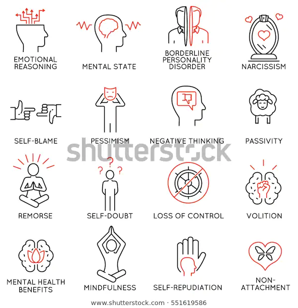 Vector Set 16 Linear Icons Related Stock Vector Royalty Free 551619586 Sketch Notes Typographic Logo Design Mindfulness