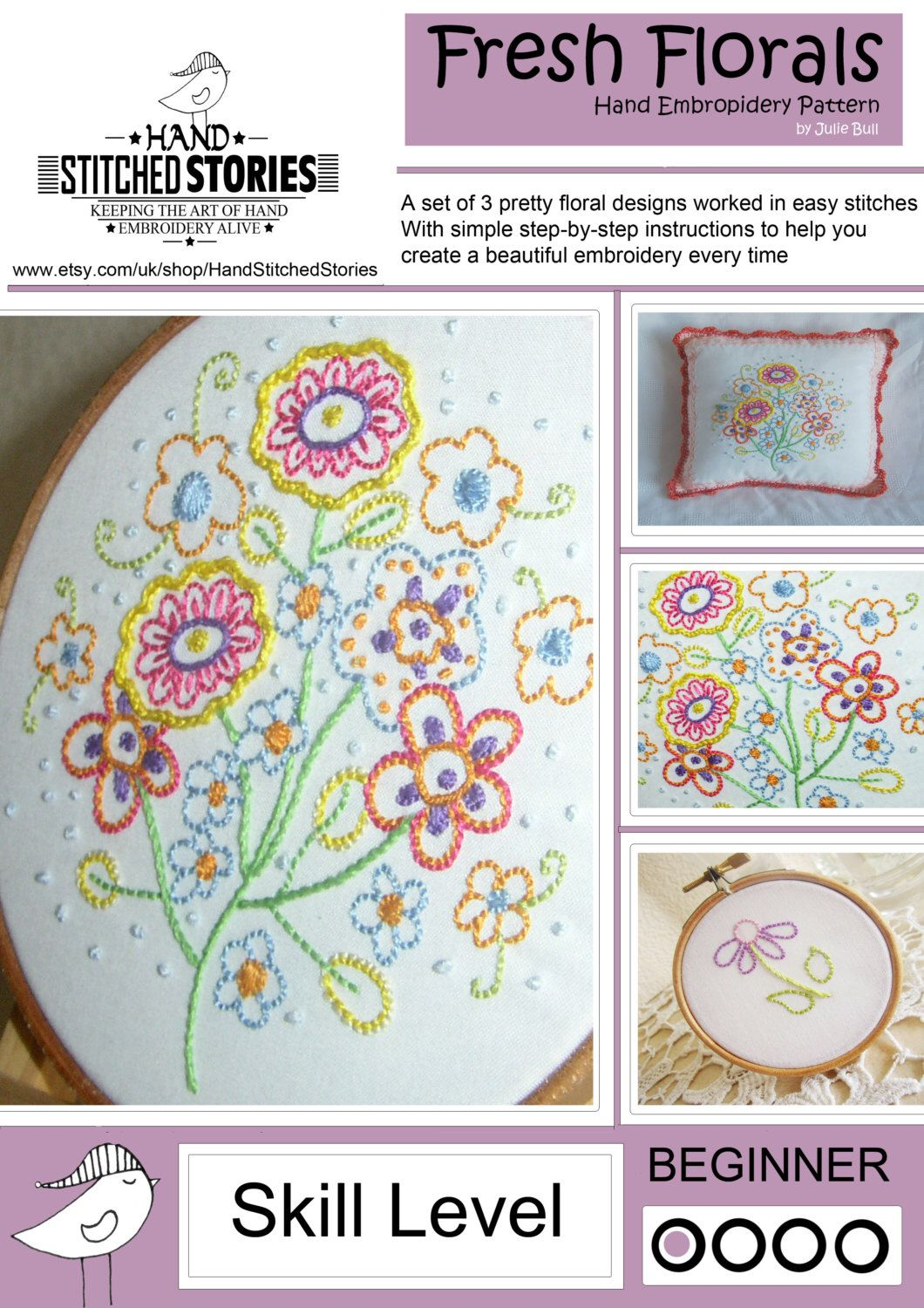 Flower hand embroidery pattern flowers spring mothers day by