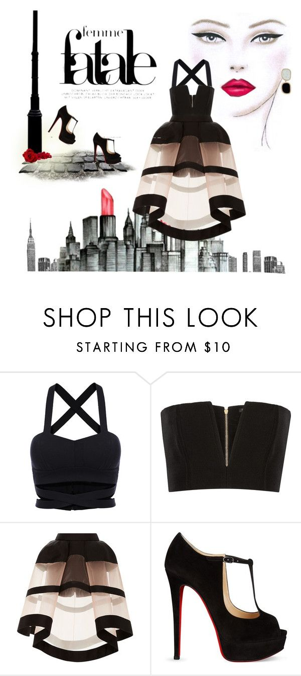 """""""Femme fatale in the City"""" by joycweic ❤ liked on Polyvore featuring Balmain, Delpozo, Christian Louboutin and Roberto Coin"""