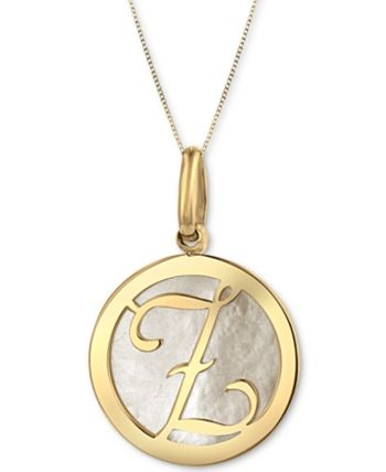 Mother Of Pearl 16 3 4mm Initial 18 Pendant Necklace In 10k Gold Gold Pendant Initial Pendant Necklace Baby Clothes Shops