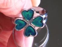 Shipping included Shamrock Four Leaf Clover Mood Ring. Silver Tone, Adjustable.