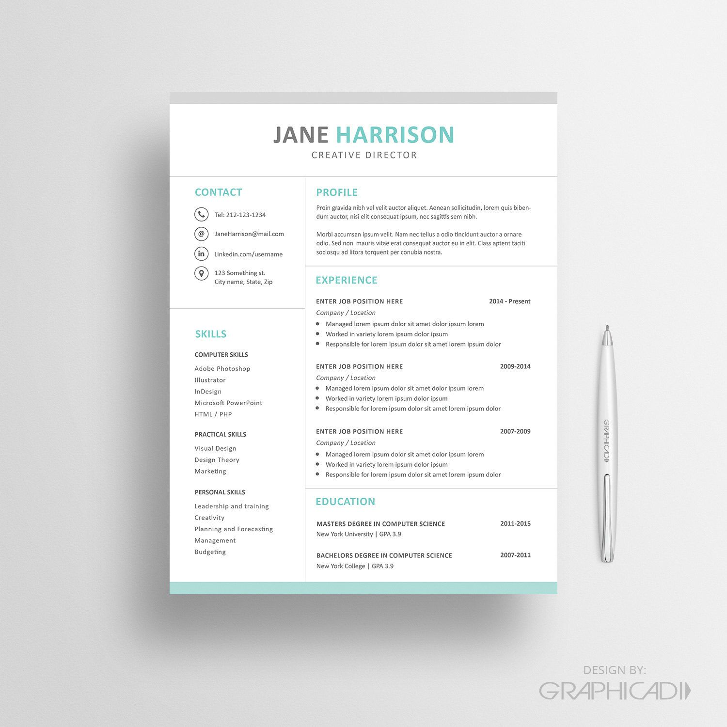 Professional Resume Template 03 - Cover Letter - Word Resume ...
