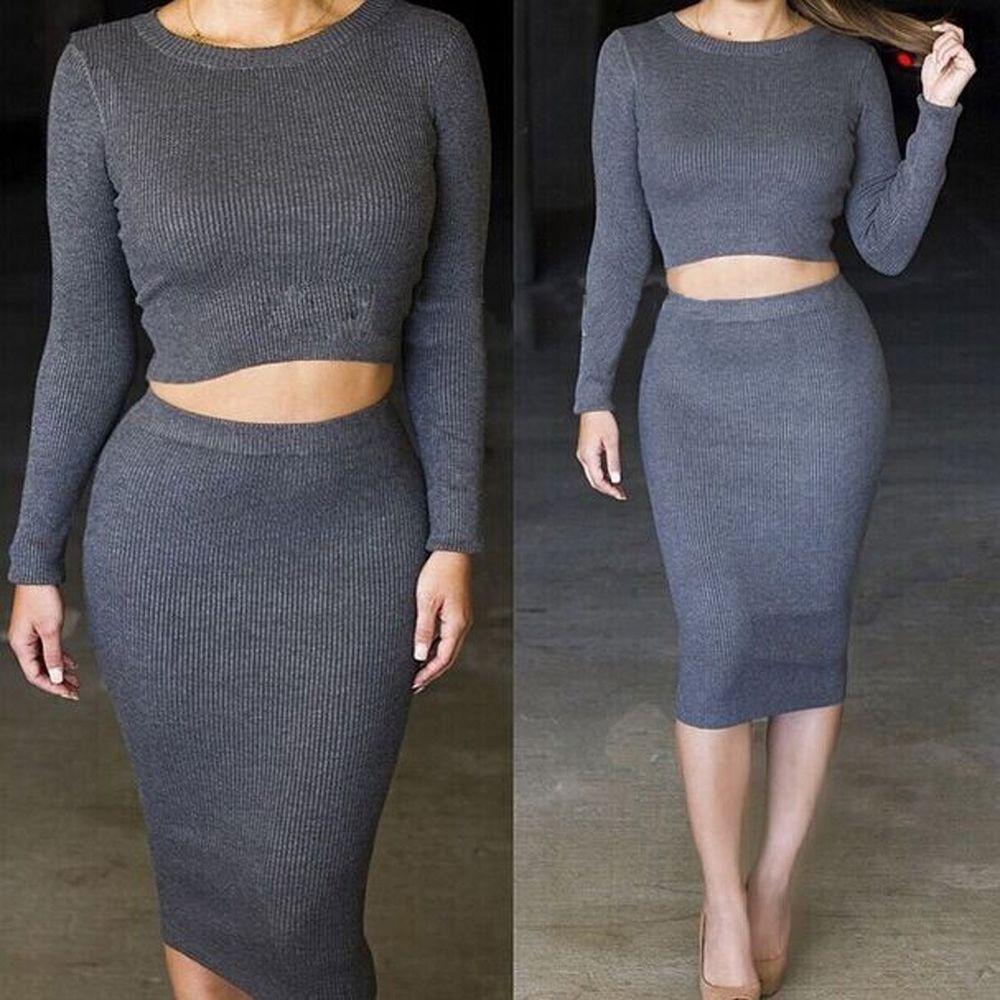 Womens 2 Piece long sleeve thicken Bodycon Crop Tops Skirt Sweater ...
