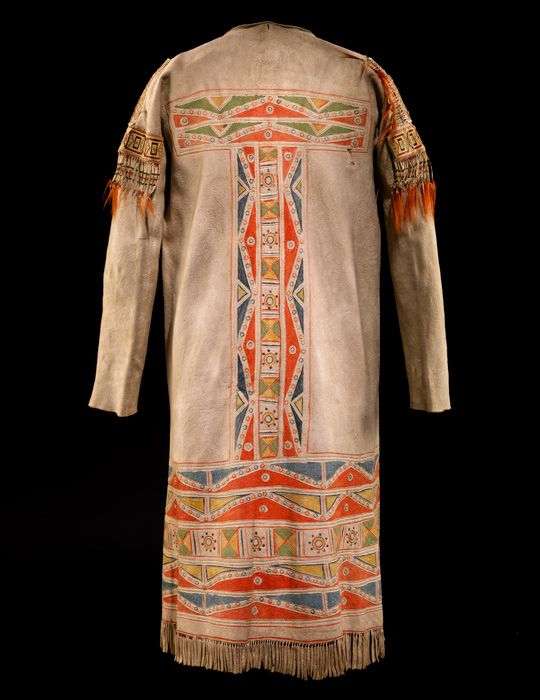 Cree misko takiy (hide coat, back), ca. 1780–1820. Alberta, Canada. Moose hide, paint, porcupine quill, hair; 125 x 160 cm. Purchase. 17/6343