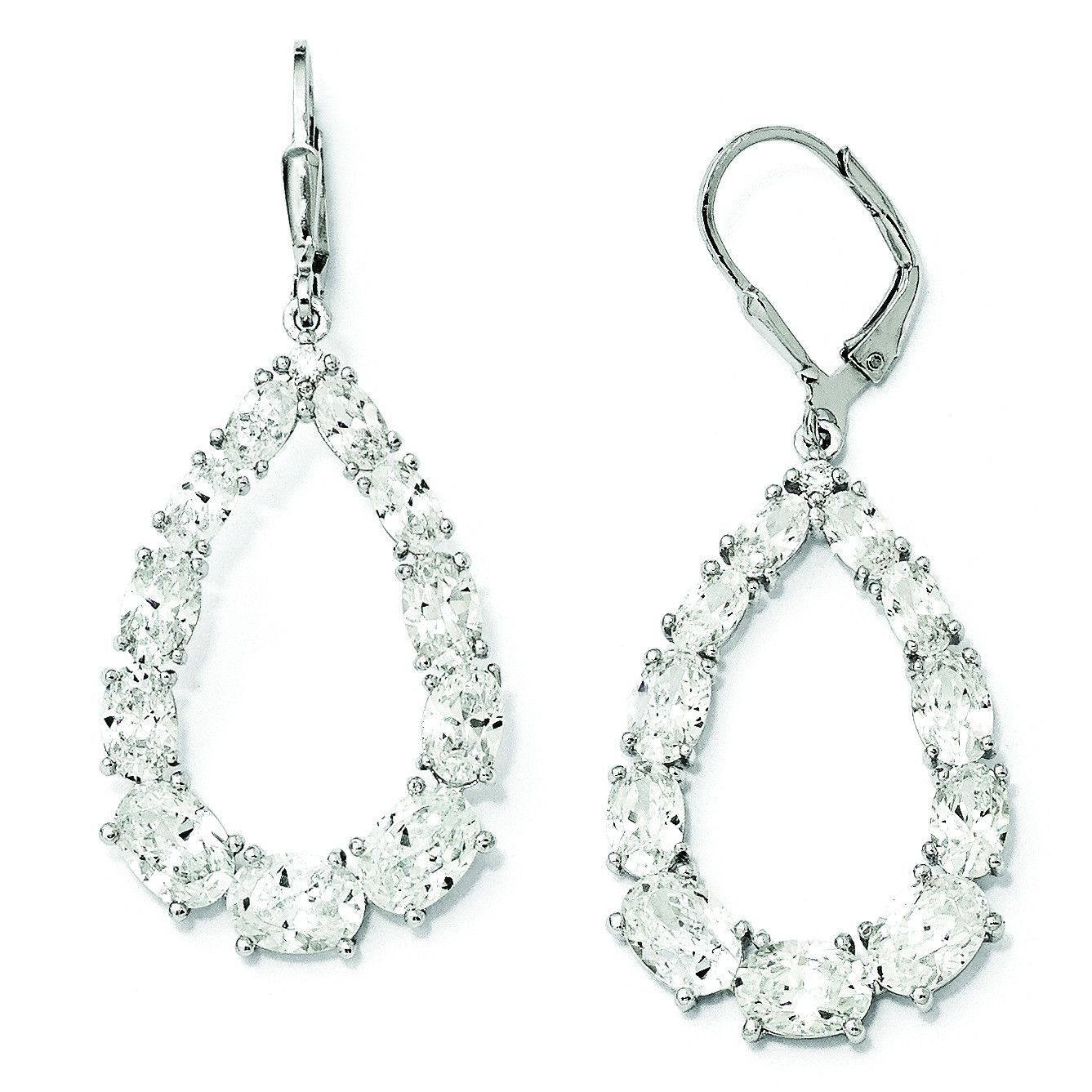 Cheryl M Sterling Silver CZ Leverback Earrings QCM1004