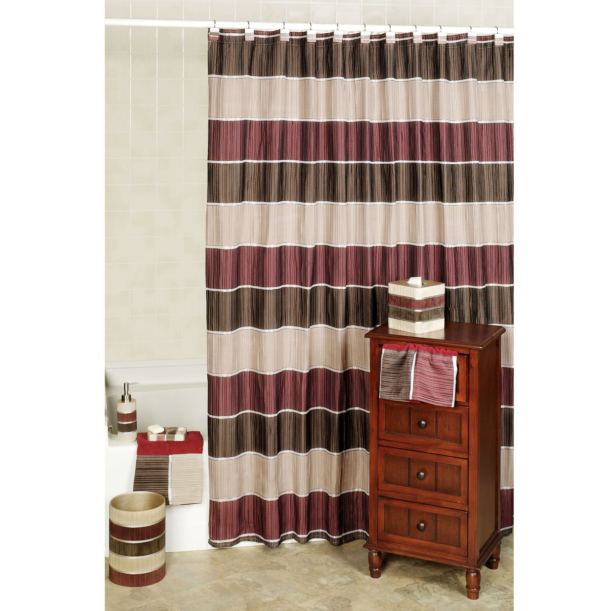 Modern Line Burgundy Striped Shower Curtain Green Shower
