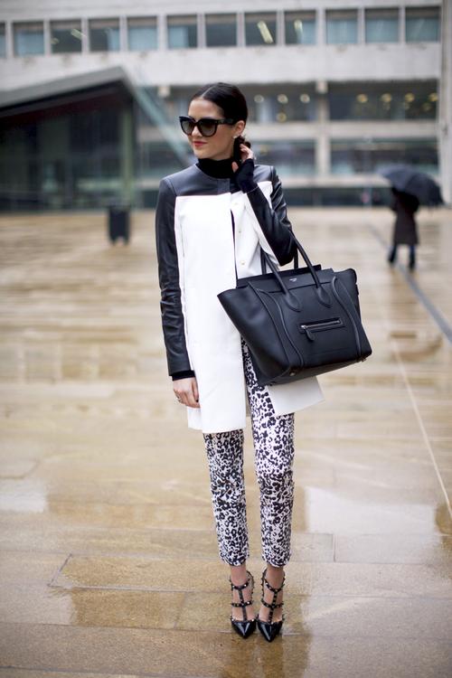 black & white: Zara jacket, Valentino rockstud pumps, Céline bag #StreetStyle