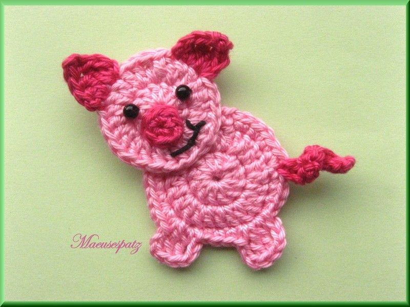 Schweinchen | Crochet Applique / Applikationen | Pinterest | Ferkel ...