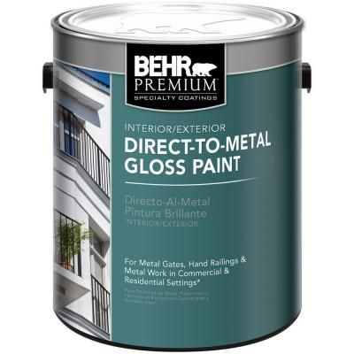 Behr Premium 1 Gal Black Gloss Direct To Metal Interior Exterior Paint 822001 The Home Depot In 2020 Exterior Paint Black Paint Color Interior And Exterior
