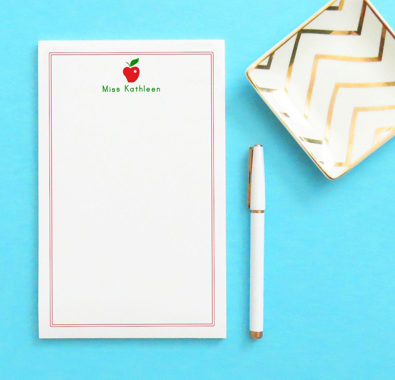 Teacher Apple Personalized Notepad Personalized teacher