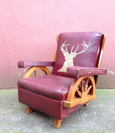 Sold Vintage Wagon Wheel Arm Chair Vintage Rocking Chair Wagon Wheel Cowhide Decor