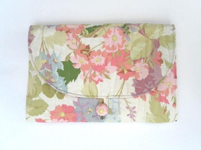 Floral, quilted, clutch, handbag, summer bag, vintage fabric £20.00