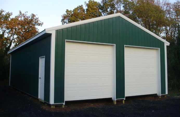 """Building Dimensions: 24' W x 40' L x 10' 4"""" H (ID#: 399) 24' Standard Trusses, 4' on Center, 4/12 Pitch, For More Details: http://pioneerpolebuildings.com/portfolio/project/24-w-x-40-l-x-10-4-h-id-399-total-cost-11644"""