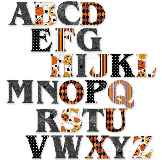 photograph about Free Printable Halloween Clipart titled Immediate Down load Halloween Alphabet Clip Artwork Preset by way of
