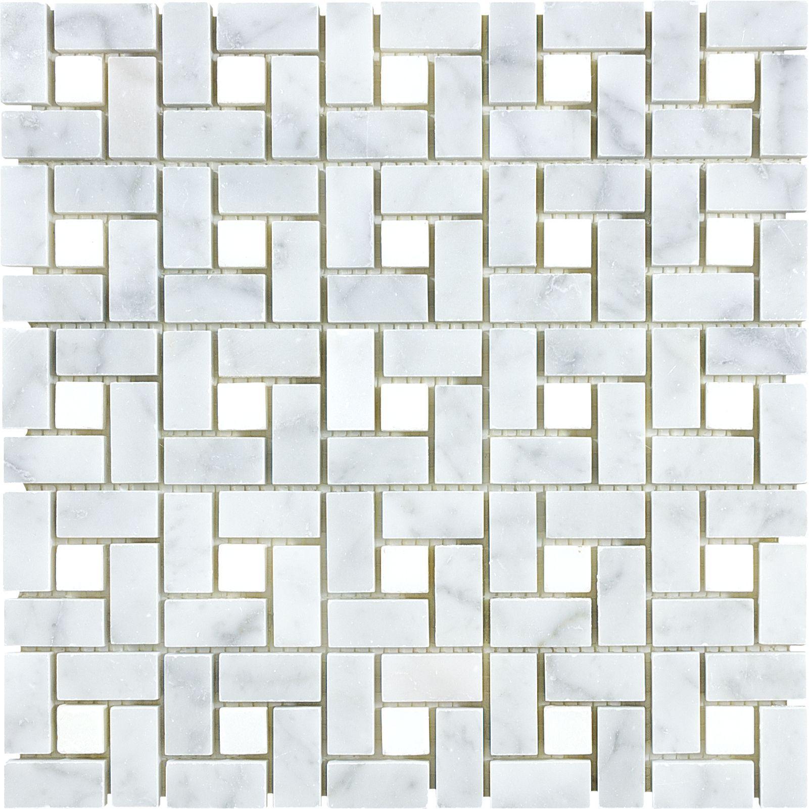 Anatolia tile carrara pinwheel basketweave mosaic marble wall tile anatolia tile carrara pinwheel marble natural stone mosaic basketweave wall tile common x actual x floor tile in downstairs bathroom doublecrazyfo Gallery