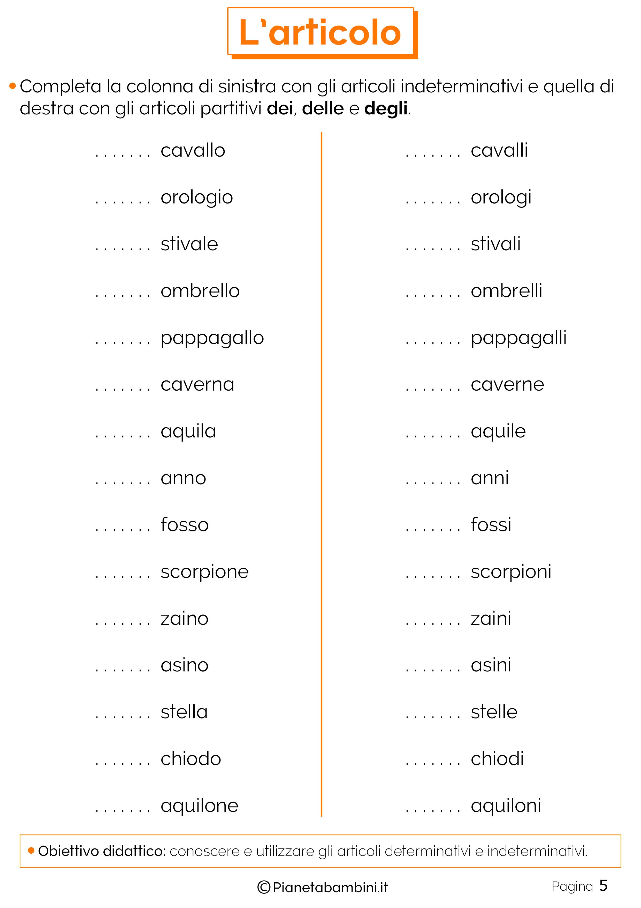 Articoli Determinativi E Indeterminativi Esercizi Per La Scuola Primaria Lingua Italiana Scuola Lezioni Di Grammatica