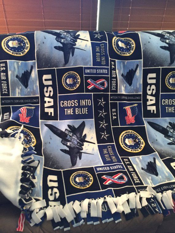 Air Force Military Hand Tied Fleece Blanket Military