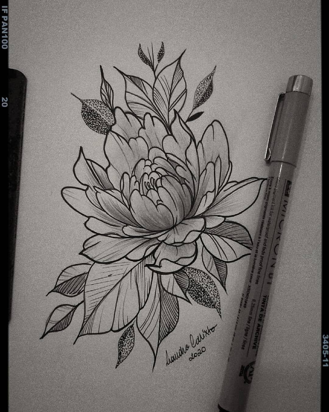Peônia 🌑 (Disponível para tatuar)  #peoniatattoo #tattoodesign #tattoodrawing #tattoo