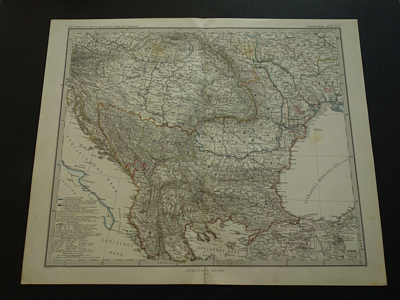 Antique map of the Balkans Turkey Russia Odessa  original 1872