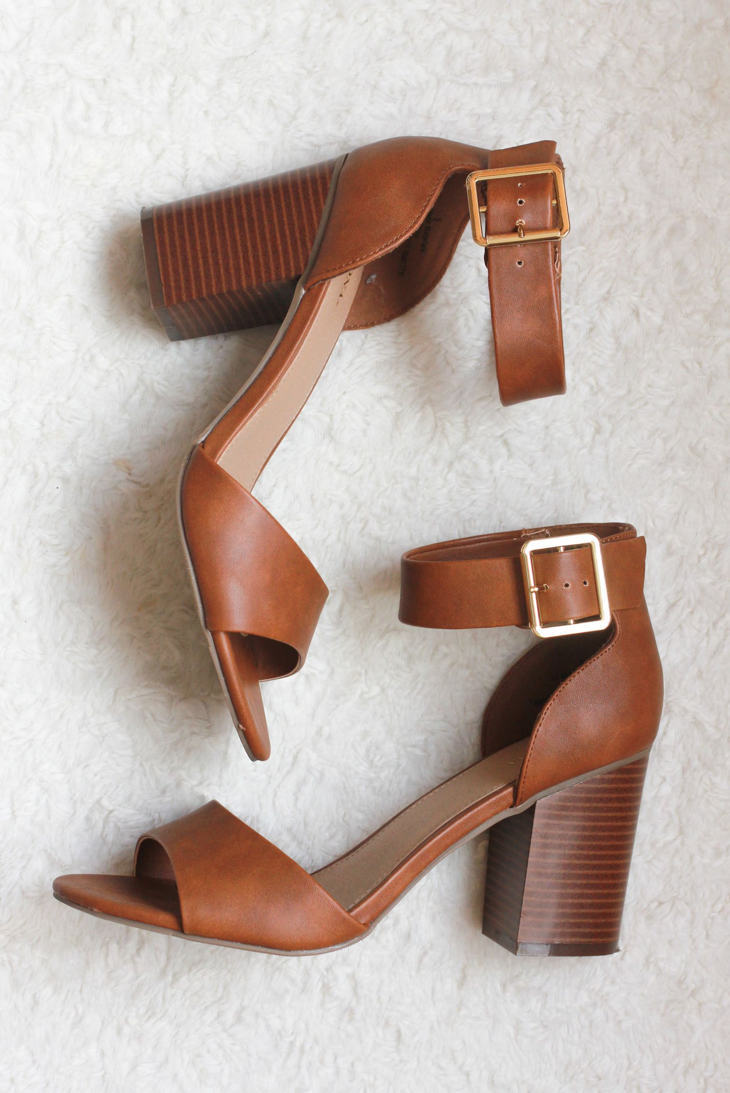e829b3363d2 Merona by Target ankle strap block heel cognac brown sandals. spring shoe  for weddings