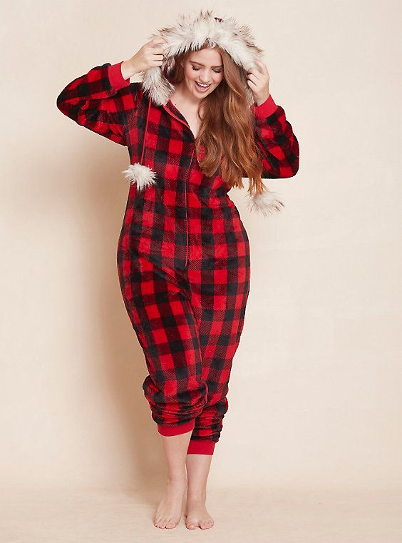 plus size gingham knit faux fur onesie, multi | comfy and chill