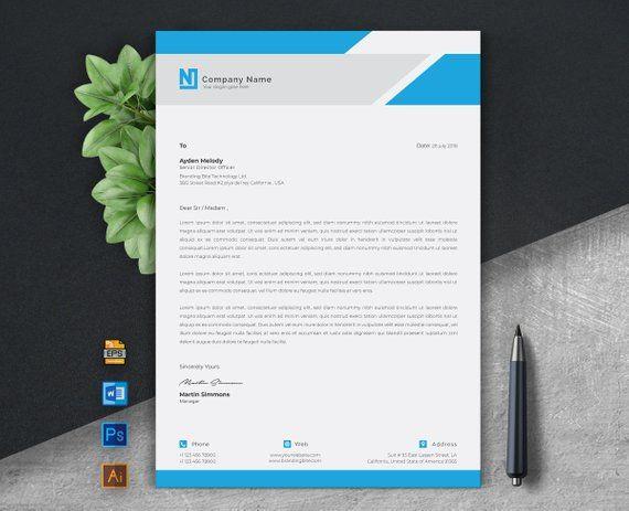 Corporate Letterhead Template   Business Letterhead   Company Letterhead, Photoshop, Illustrator & MS Word Template   Instant Download