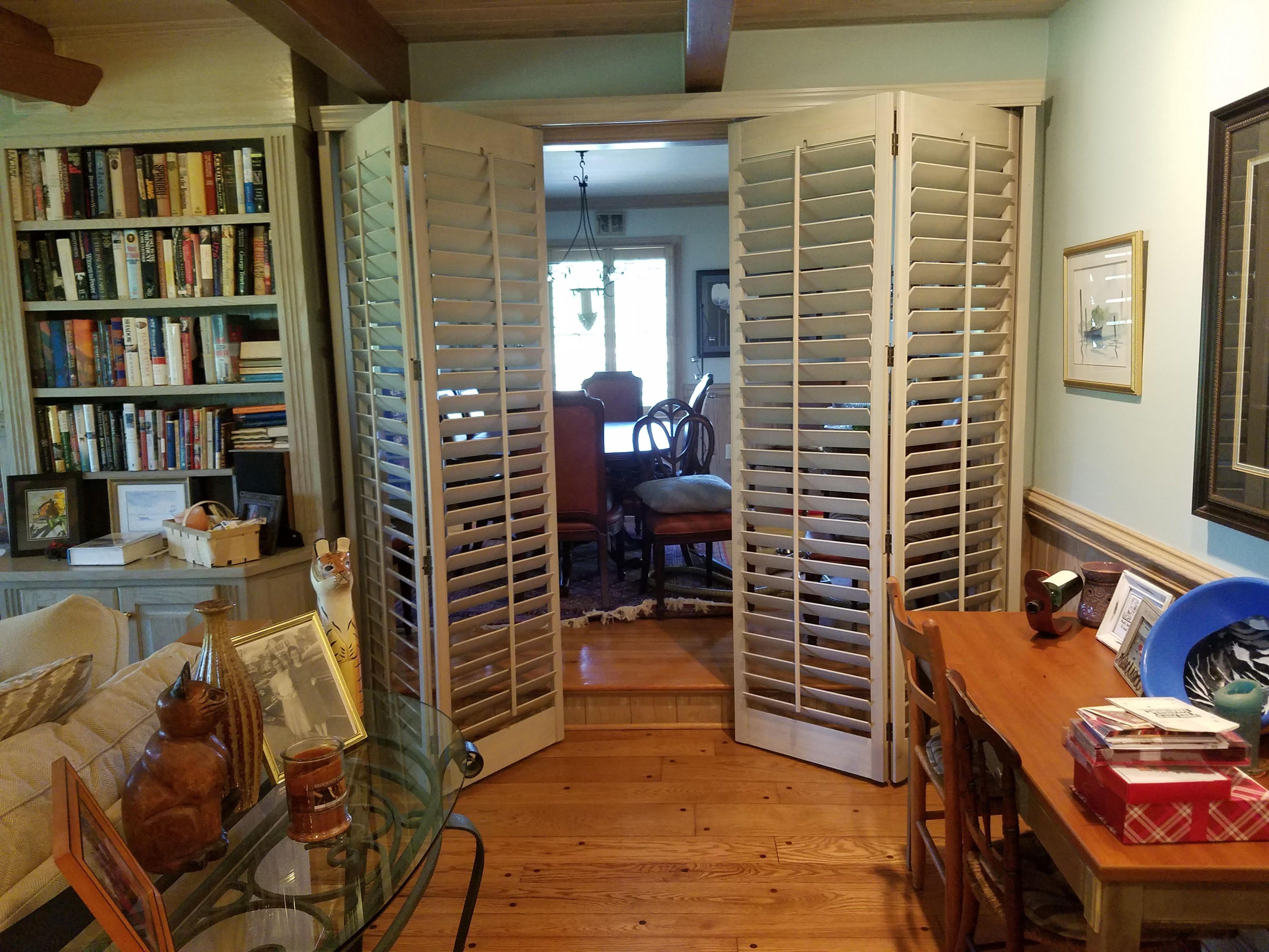 Nice custom bi-fold room divider manufactured with plantation ...
