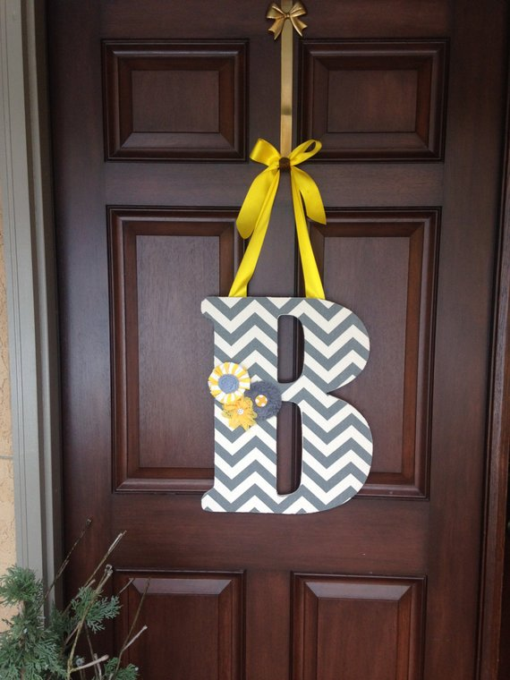 Hanging Inital Letter B Front Door Decor Wooden Inital Grey Yellow White Chevron Flowers Front Door Decor Door Decorations Chevron Wooden Letters
