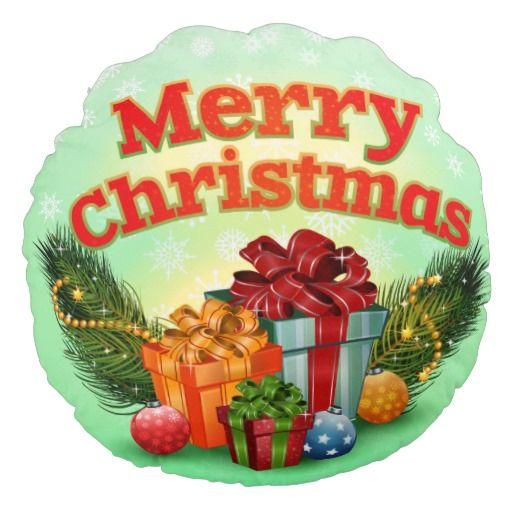 Bright shiny colorfu shiny Christmas presents Round Pillow
