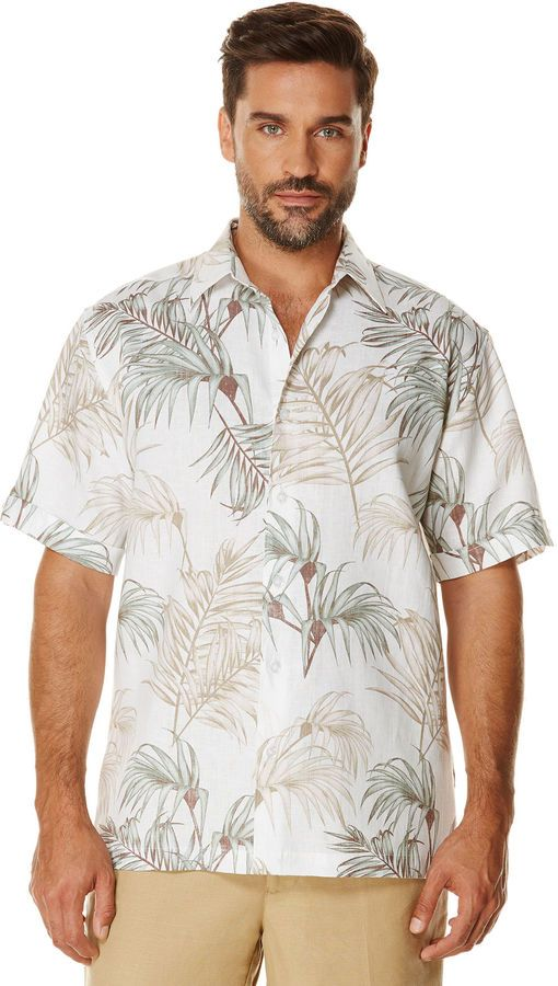 20585256a5 Cubavera Big   Tall 100% Linen Short Sleeve Allover Print Shirt
