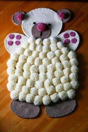 Molde para hacer alfombra de oso con pompones grandes bricolaje y manualidades alfom - Alfombras infantiles grandes ...