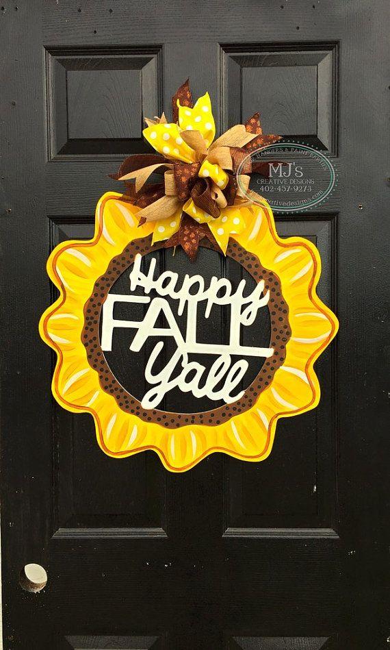 Fall Door Hanger- Sunflower Door Hanger, Happy Fall Y\'all, Fall Door ...